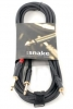 4.9 KABEL MINI JACK STEREO x 2 JACK MONO 6,3MM , 3M